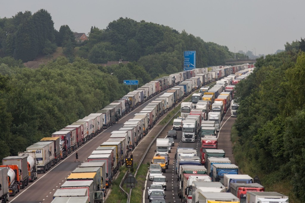 Trucks queue on the M20 as part of Operation Stack in Ashford, England. Rob Stothard/Getty Images
