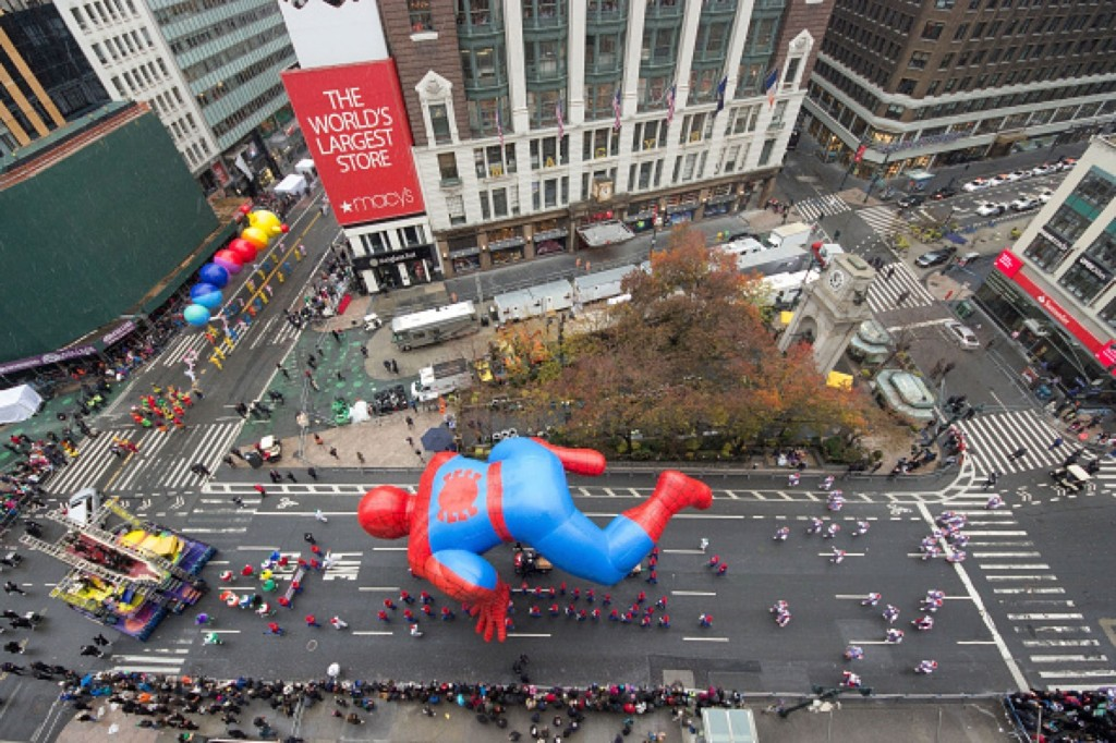 Spiderman hovers in Herald Square. Ben Hider/Getty Images