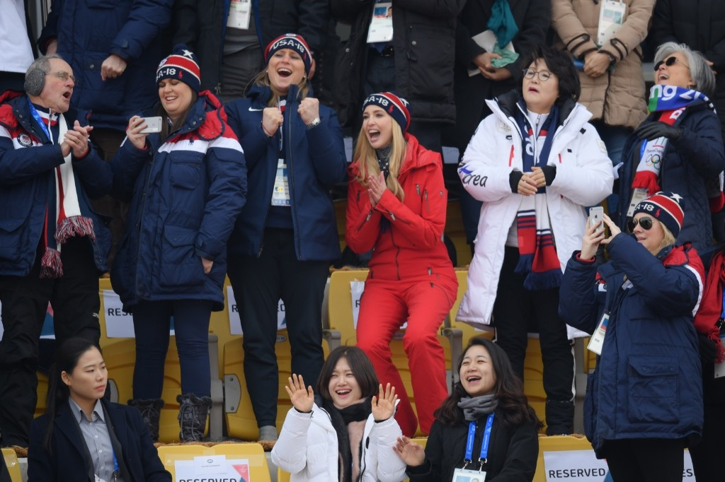 Ivanka Trump in the crowd with White House Press Secretary Sarah Huckabee Sanders, IOC executive board member Angela Ruggiero, South Korean first lady Kim Jung-sook and South Korean foreign minister Kang Kyung-wha during the men's big air final. Carl Court/Getty Images