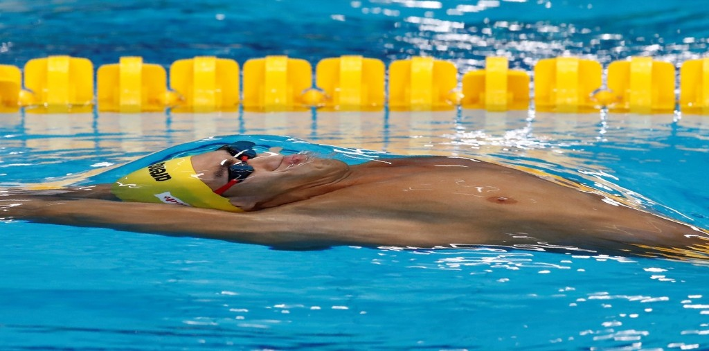 Jiayu Xu of China in the men's 100m backstroke. REUTERS/Stefan Wermuth