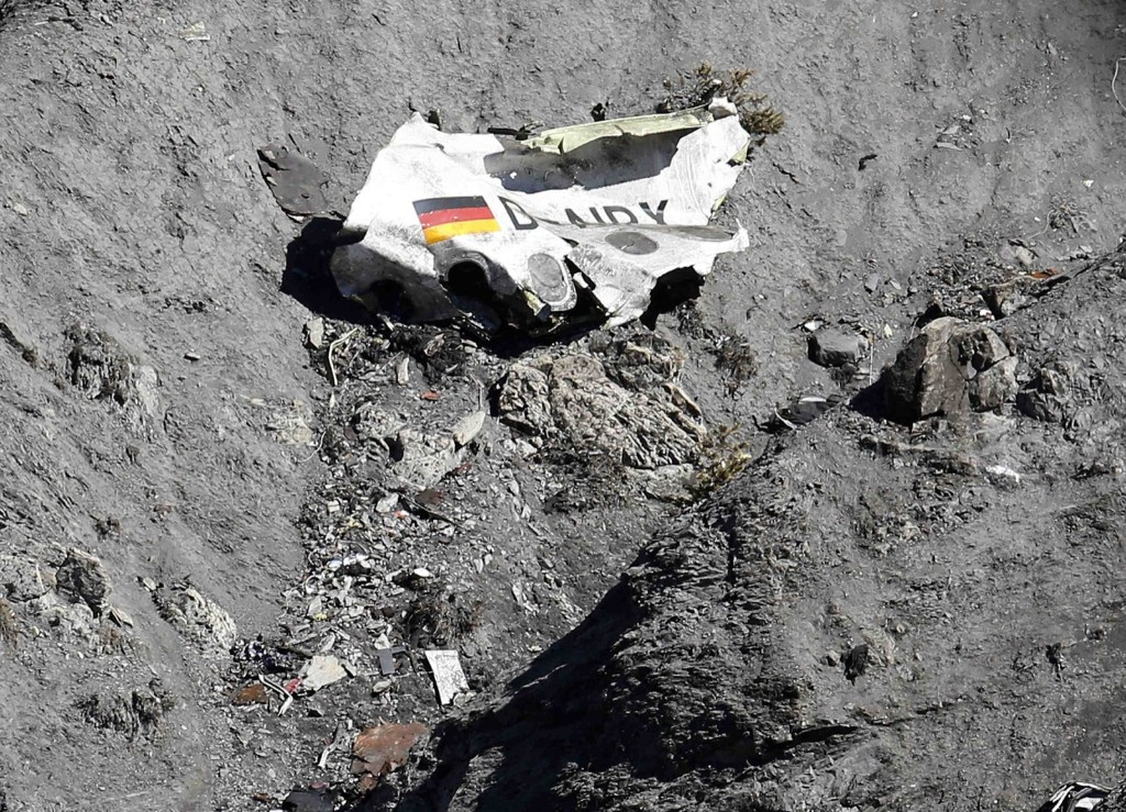 Wreckage of the Germanwings Airbus A320 at the site of the crash, near Seyne-les-Alpes. REUTERS/Emmanuel Foudrot