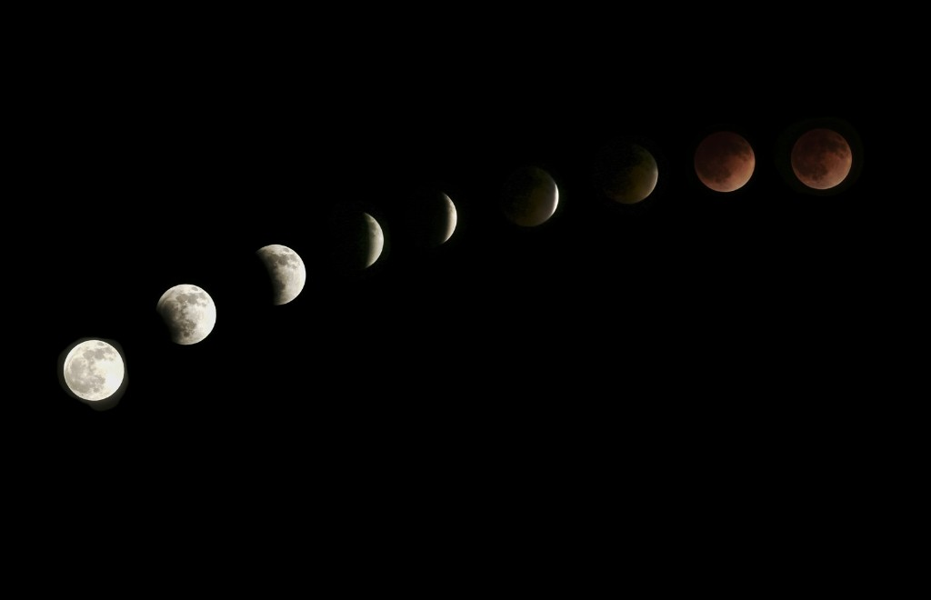 The moon is seen as it nears a total lunar eclipse Tuesday in Venice, California. Kevin Winter/Getty Images