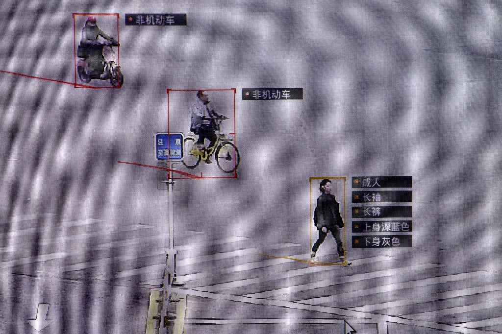 FILE PHOTO: SenseTime surveillance software identifying details about people and vehicles runs as a demonstration at the company's office in Beijing, China, October 11, 2017. REUTERS/Thomas Peter/File Photo