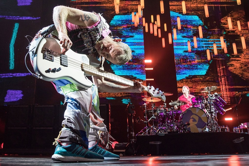 Flea and Chad Smith of the Red Hot Chili Peppers during The Getaway World Tour in San Antonio. Rick Kern/Getty Images