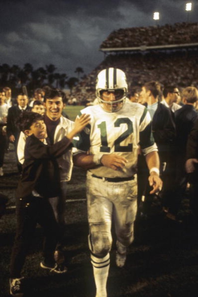 New York Jets quarterback Joe Namath after upsetting the Colts in Super Bowl III in Miami, Jan. 1969. Walter Iooss Jr. Sports Illustrated/Getty Images