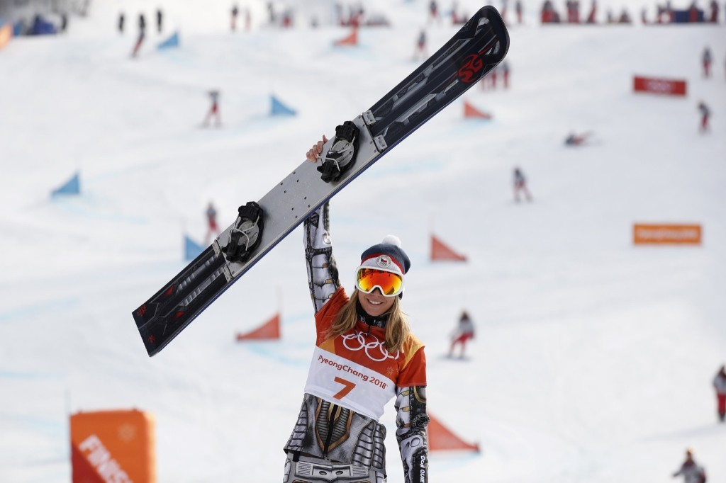 Gold medallist Ester Ledecka of Czech Republic celebrates after winning the women's parallel giant slalom. REUTERS/Issei Kato