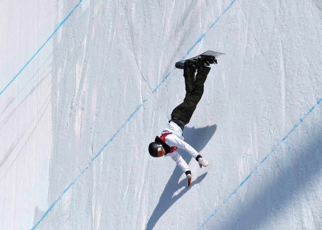 Clemens Millauer of Austria in men's big air qualifications. REUTERS/Toby Melville