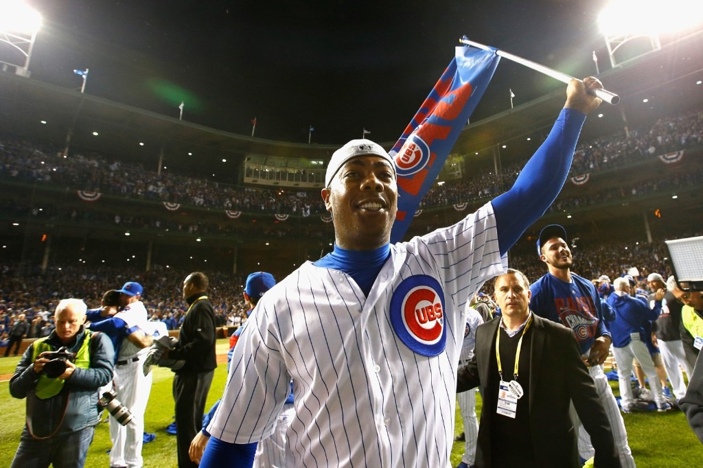 Aroldis Chapman after defeating the Dodgers, 5-0. Jamie Squire/Getty Images