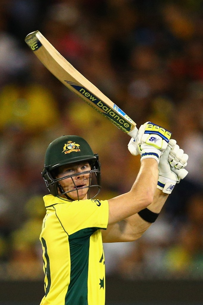 Steve Smith of Australia bats during the 2015 ICC Cricket World Cup final match against New Zealand, Sunday, in Melbourne. Cameron Spencer/Getty Images
