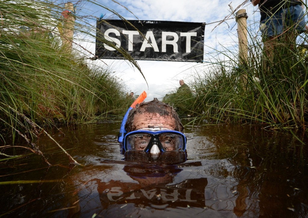 Stephen McDonagh takes part in the Irish Bog Snorkelling championship at Peatlands Park. Charles McQuillan/Getty Images