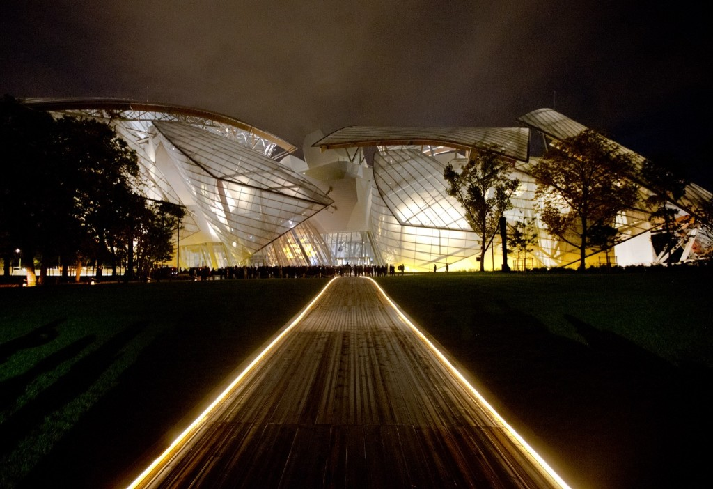 The Louis Vuitton Foundation art museum and cultural center, created by American architect Frank Gehry. The 100-million-euro building, with billowing glass casing and 11 gallery spaces, has been compared to an iceberg or giant sailboat and took over a decade to make. AP Photo/Jacques Brinon