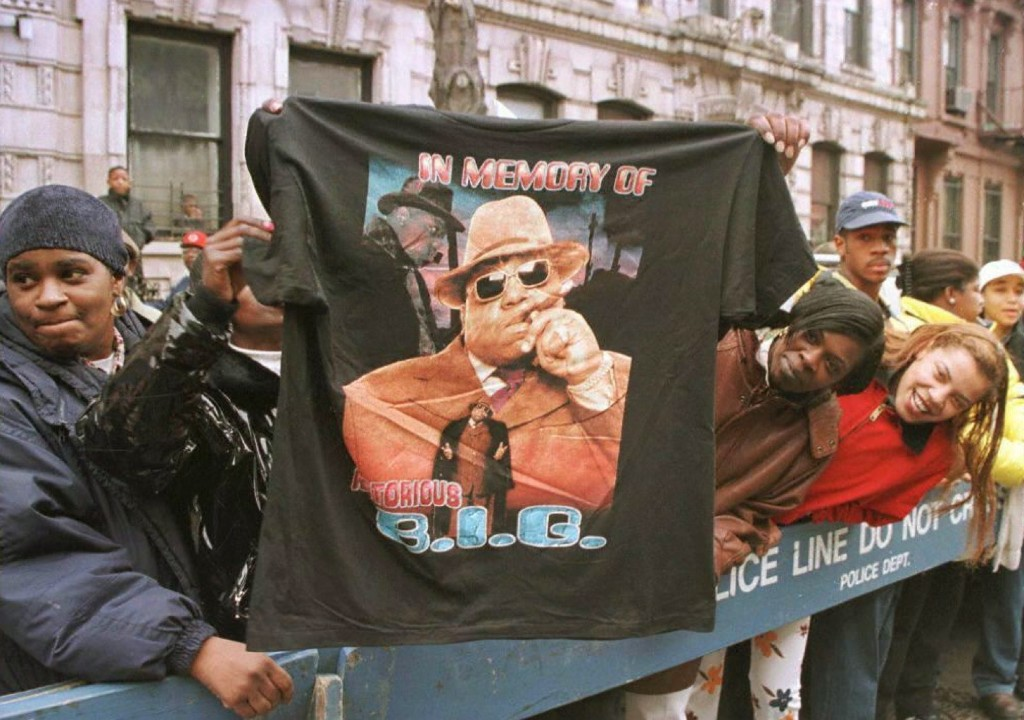 A t-shirt tribute to rapper Biggie Smalls on March 18, 1997, as fans lined the funeral procession route through his old neighborhood in Brooklyn. JON LEVY/AFP/Getty Images