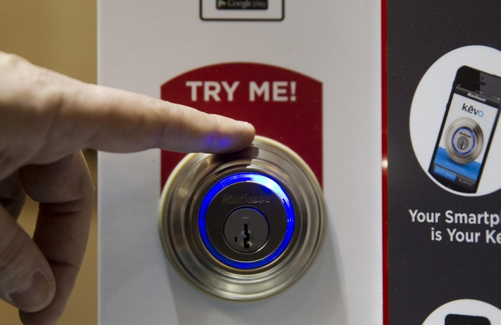 The Kevo smart lock which opens with a smart phone App and is smart enough to know what side of the door you are on and won't accidentally unlock the door when you are inside. REUTERS/Steve Marcus