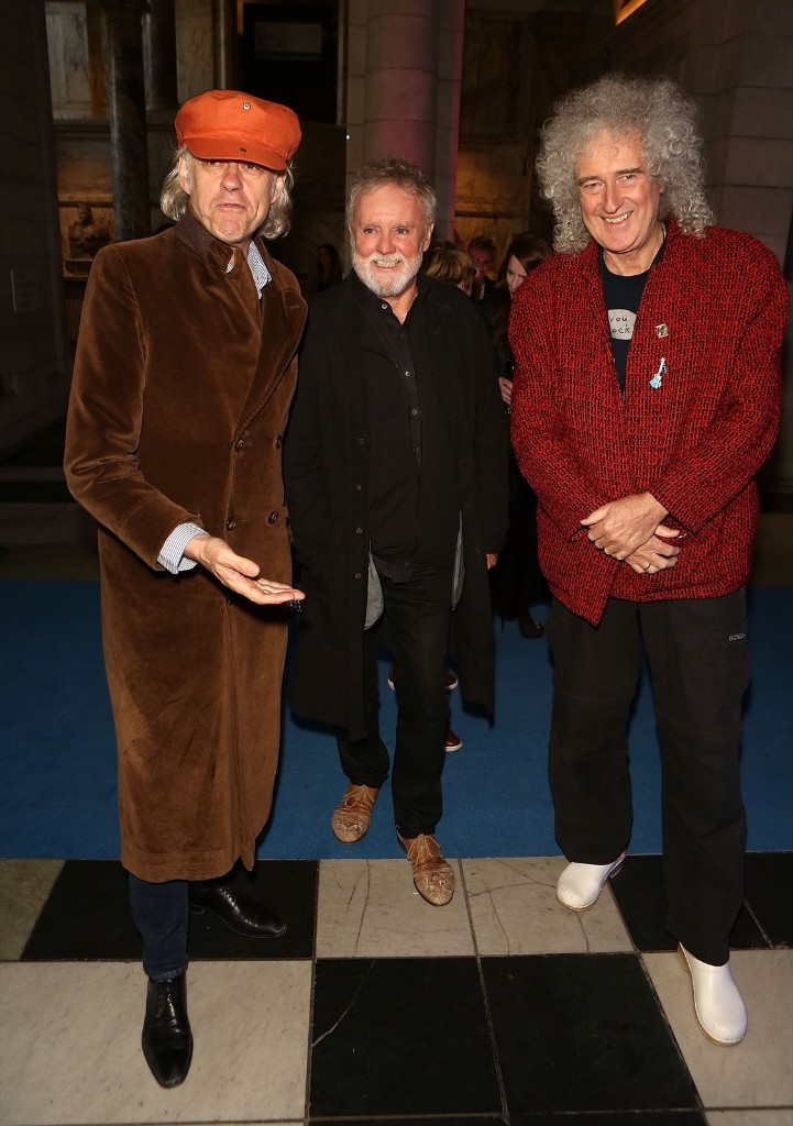 """Bob Geldof, Roger Taylor and Brian May attend the """"Pink Floyd: Their Mortal Remains"""" gala. Dave Benett/Getty Images"""