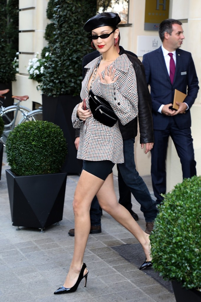 Bella Hadid leaves her hotel in Paris. Pierre Suu/Getty Images