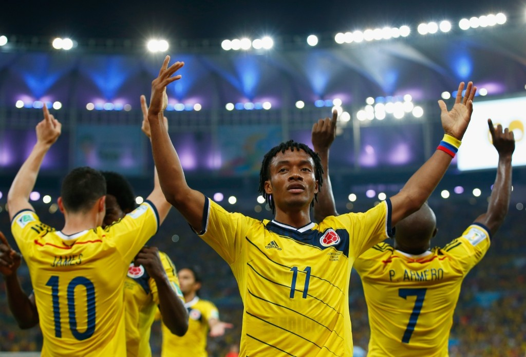 Juan Guillermo Cuadrado of Colombia celebrates his team's second goal. Clive Rose/Getty Images