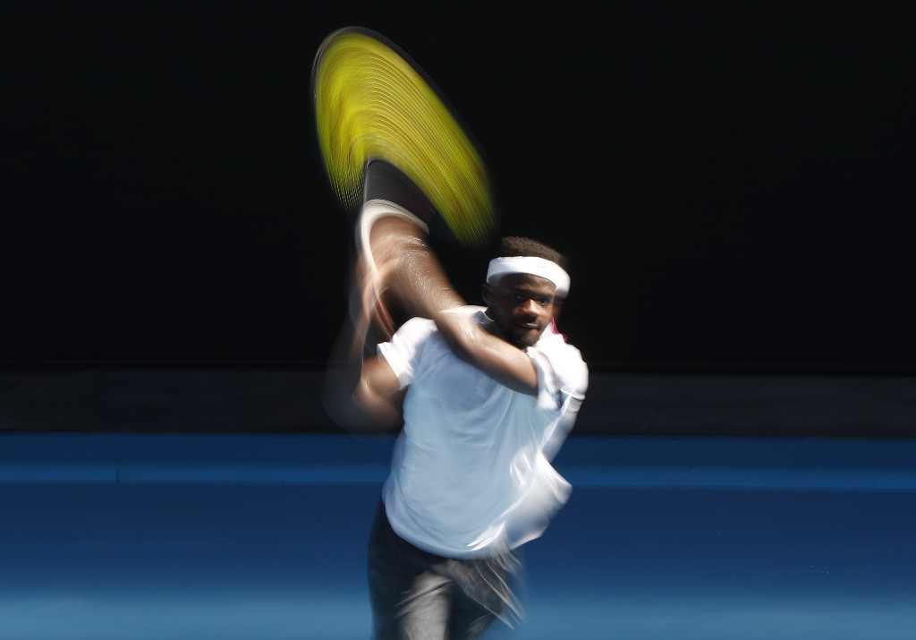 Tennis - Australian Open - Fourth Round - Melbourne Park, Melbourne, Australia, January 20, 2019. Frances Tiafoe of the U.S. in action during the match against Bulgaria's Grigor Dimitrov. REUTERS/Edgar Su