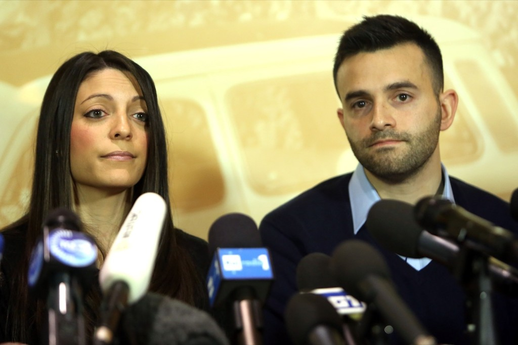 Meredith Kercher's sister Stephanie and brother Lyle after the final verdict in the Amanda Knox and Raffaele Sollecito retrial at the Courthouse of Florence, Jan. 31, 2014. Franco Origlia/Getty Images