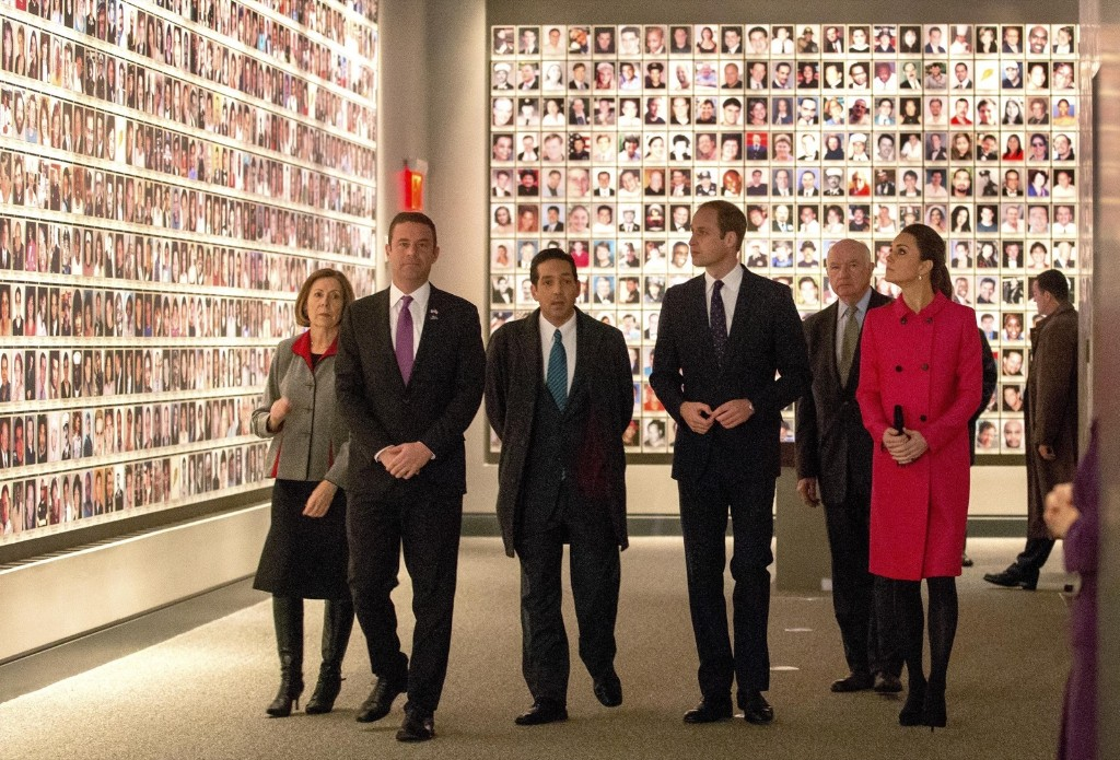 Britain's Prince William, Duke of Cambridge and Kate, Duchess of Cambridge, tour the National September 11 Memorial and Museum in New York, Tuesday. AP Photo/ Doug Mills-Pool