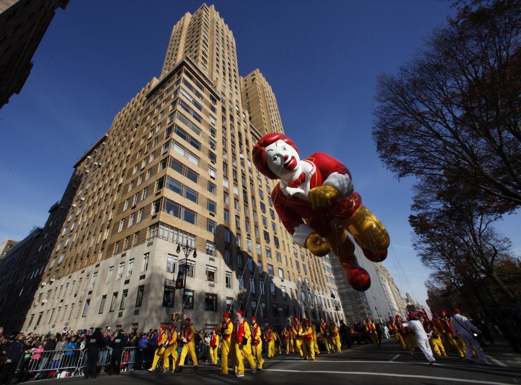 The Ronald McDonald balloon floats down Central Park West in the Macy's Thanksgiving Day Parade in New York, Thursday. Photo by Gary Hershorn