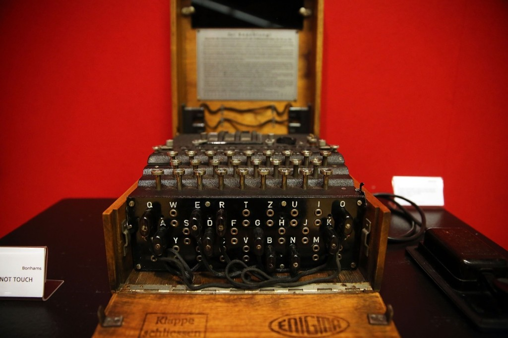 A working Enigma cipher machine belonging to codebreaker Alan Turing to be auctioned at Bonham's in New York City. Spencer Platt/Getty Images