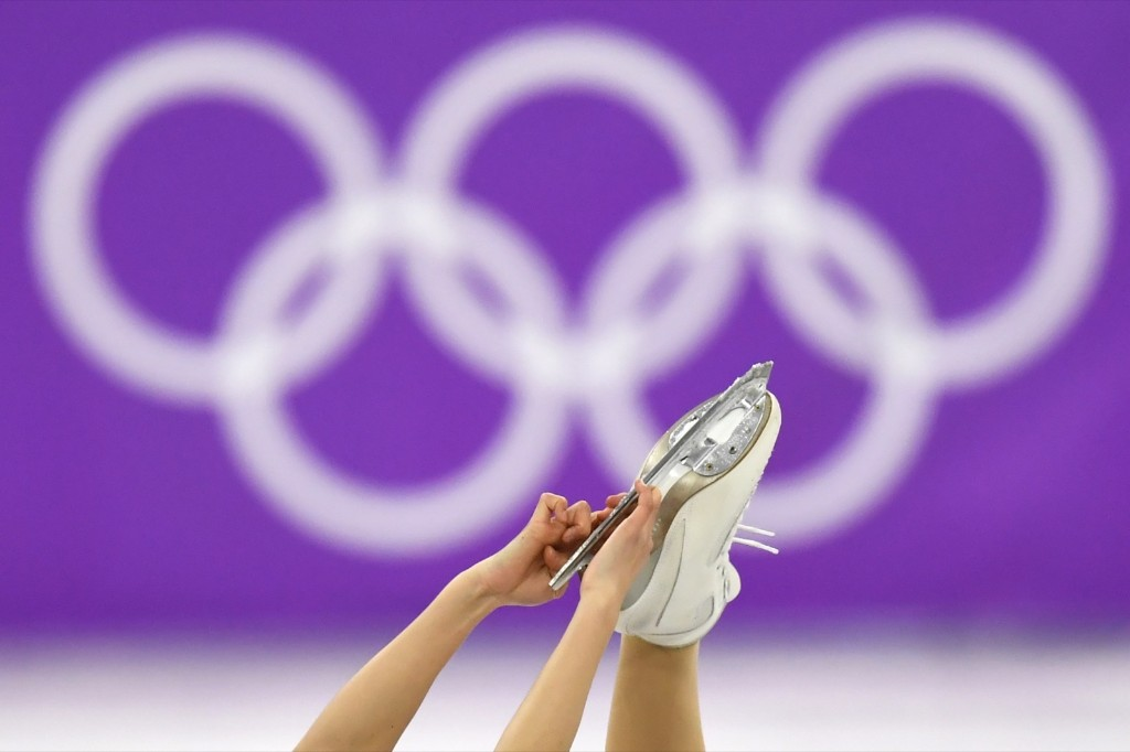 Close up of Japan's Kaori Sakamoto's skates as she compete in the women's free skate. KIRILL KUDRYAVTSEV/AFP/Getty Images