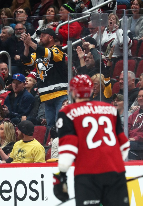 Jan 18, 2019; Glendale, AZ, USA; A Pittsburgh Penguins fan in the crowd cheers after a third period goal by Arizona Coyotes center Oliver Ekman-Larsson was reversed after a video review at Gila River Arena. Mandatory Credit: Mark J. Rebilas-USA TODAY Sports