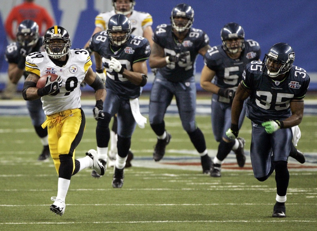 Steelers running back Willie Parker scoring on a 75-yard run during the third quarter of Super Bowl XL against the Seahawks in Detroit, Feb. 2006. Steelers won, 21-10, joining the 49ers and Cowboys as teams with five Super Bowl championships. AP Photo/Mark Humphrey