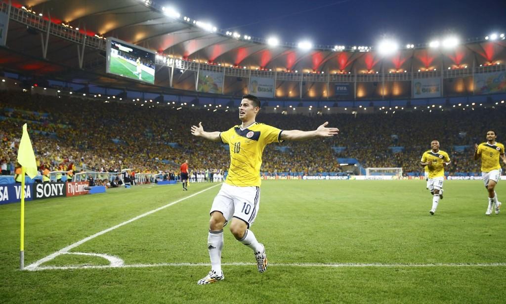 Colombia's James Rodriguez celebrates his goal against Uruguay. REUTERS/Kai Pfaffenbach