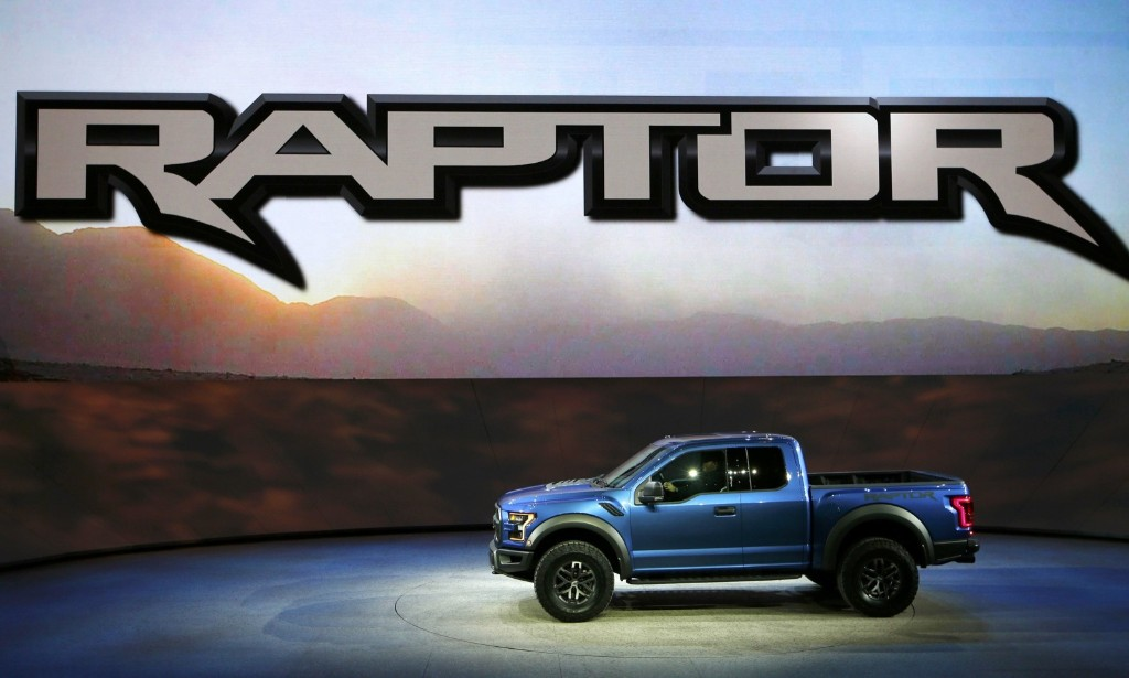 A Ford Raptor pickup truck is displayed at the North American International Auto Show in Detroit, Monday. REUTERS/Mark Blinch