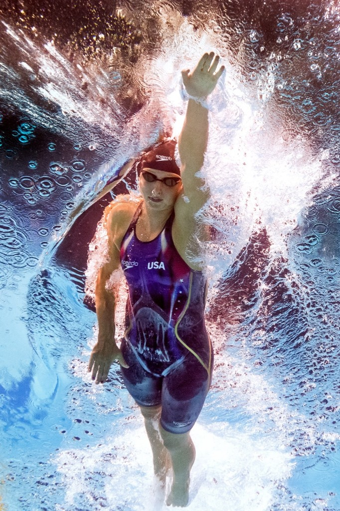 Olympic champion Katie Ledecky of the US winning the women's 400m freestyle. FRANCOIS-XAVIER MARIT/AFP/Getty Images