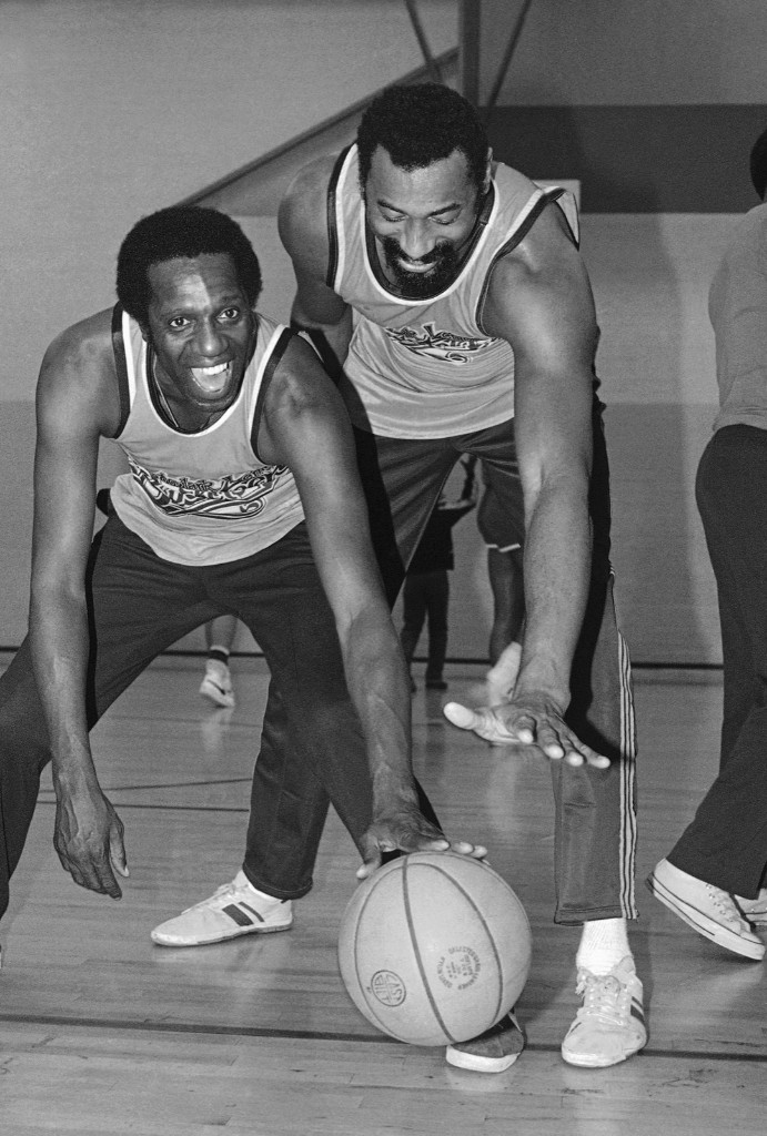 The Clown Prince of Basketball, Meadowlark Lemon, left, and NBA great Wilt Chamberlain,1980. AP Photo/Brich