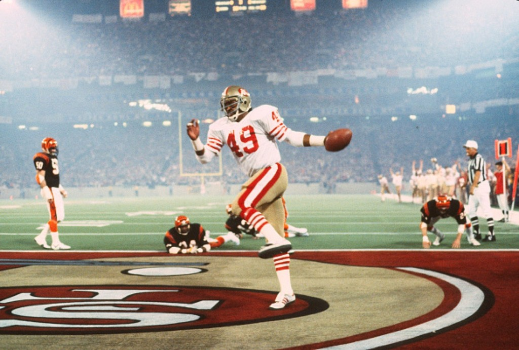 Earl Cooper of the 49ers after scoring touchdown against the Bengals in Super Bowl XVI, Jan.1982, at the Silver Dome in Pontiac, Michigan. Niners won, 26 -21. Focus on Sport/Getty Images
