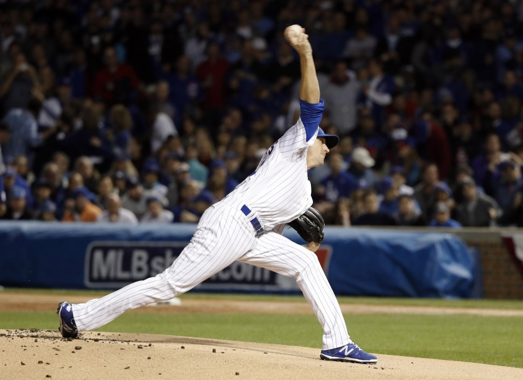 Cubs starting pitcher Kyle Hendricks was masterful, allowing only two hits in 7 1/3 innings. Jon Durr-USA TODAY Sports