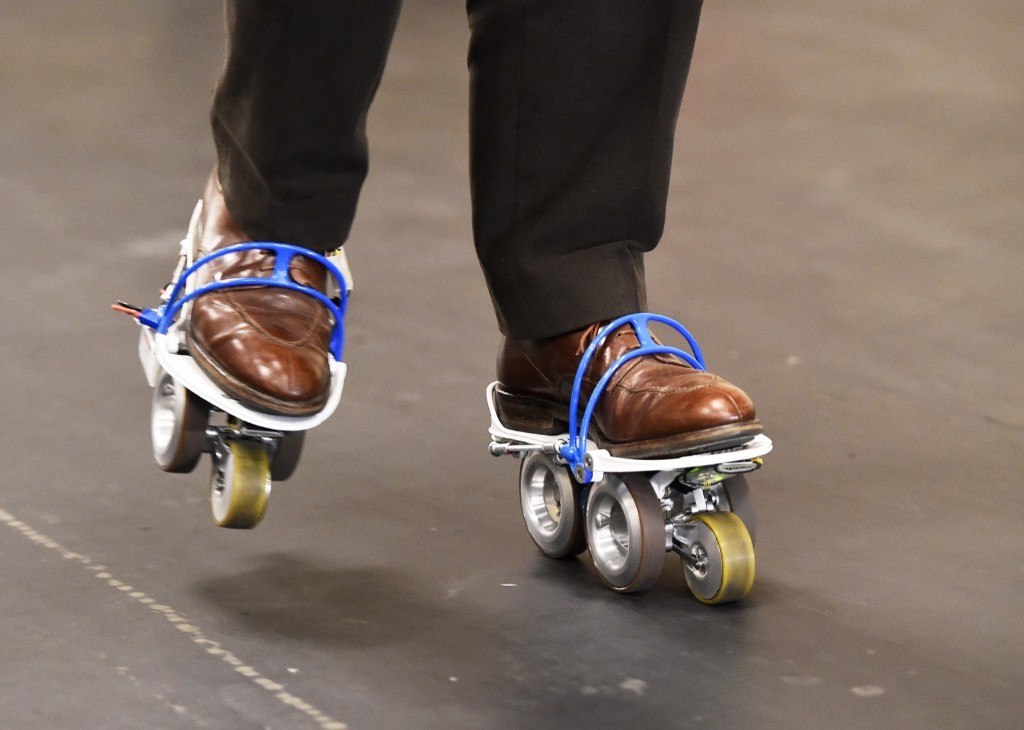The Rollkers, a transportation accessory that increases a person's average walking rate up to 7 mph. ROBYN BECK/AFP/Getty Images