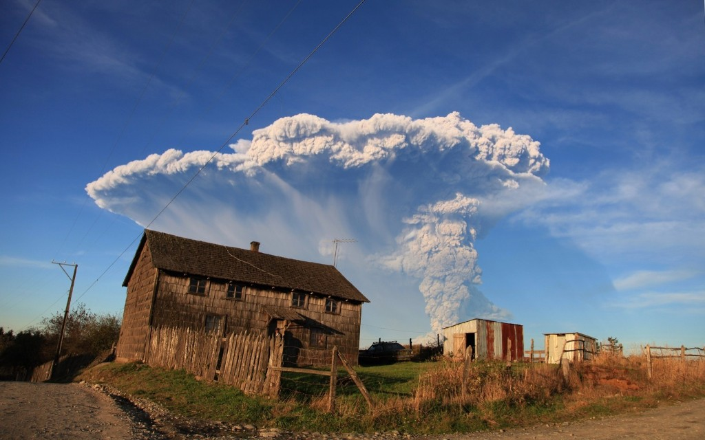 View from Puerto Montt, southern Chile, of ash and lava spewing from the Calbuco volcano. Diego Main/AFP/Getty Images