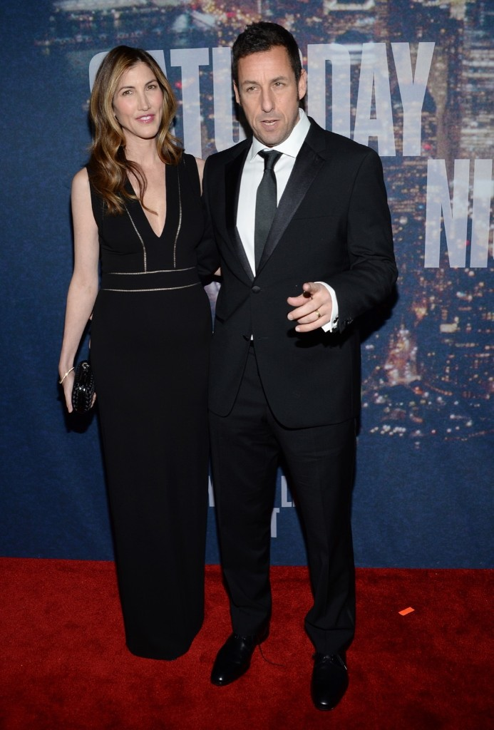 Jackie Sandler and Adam Sandler arrive at the Saturday Night Live 40th Anniversary Special, Sunday, in New York. Evan Agostini/Invision/AP