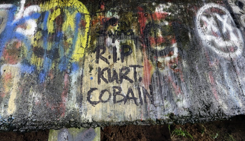 The underside of the Young Street Bridge near Cobain's childhood home in Aberdeen, Wash., Sept. 2013. AP Photo/Elaine Thompson
