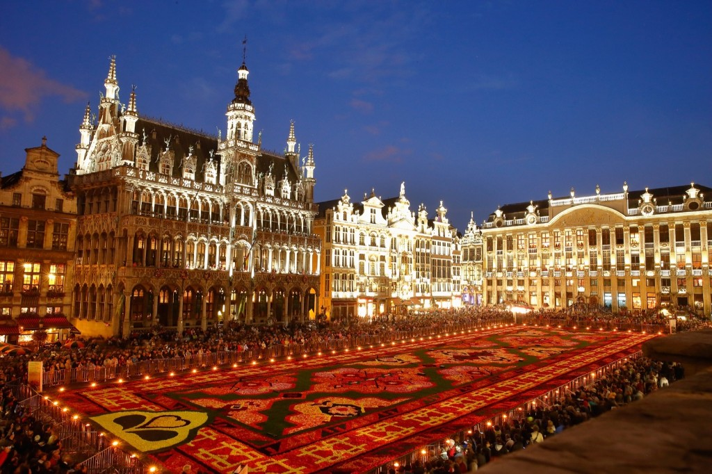 Some of the nearly 750,000 begonias in the Grand Place of Brussels commemorating the 50th anniversary of Turkish workers migration to Belgium. Andreas Rentz/Getty Images