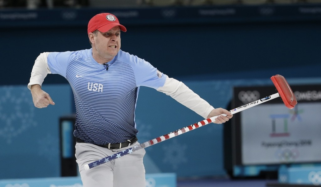 Skip John Shuster during 10-7 victory over Sweden to give the U.S. men its first gold in curling. AP Photo/Natacha Pisarenko