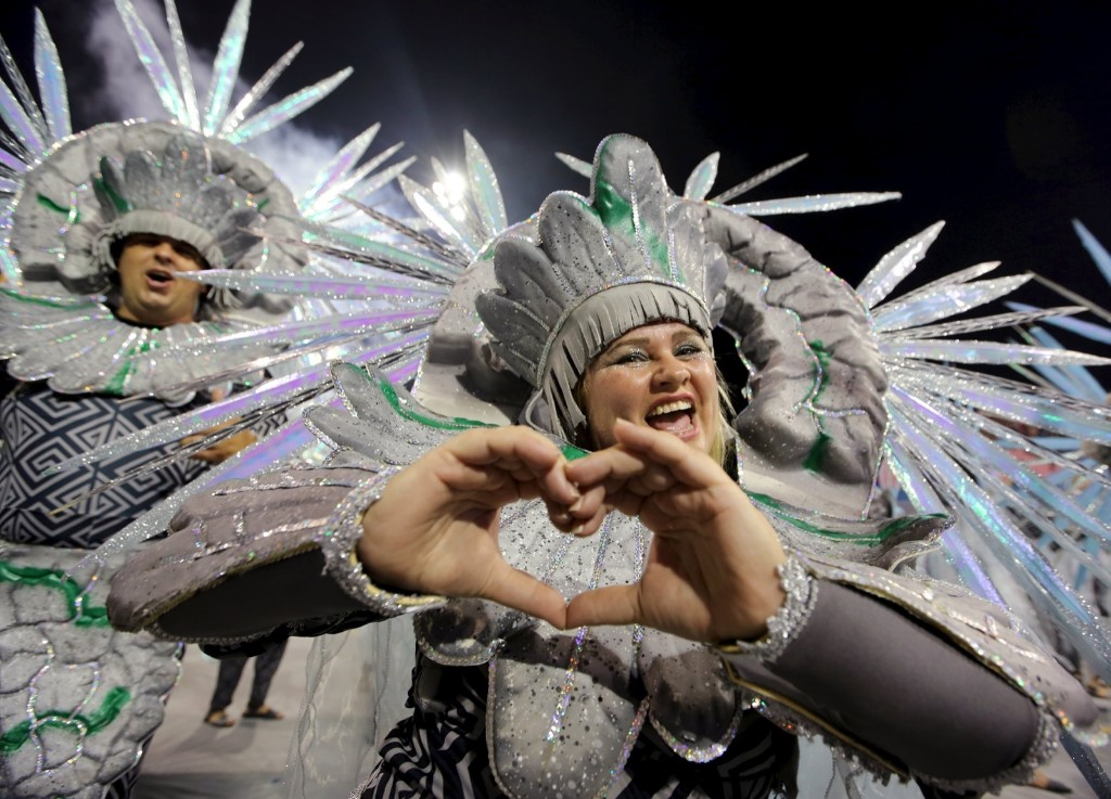 Revellers parade for Vila Maria samba school in Sao Paulo. REUTERS/Paulo Whitaker