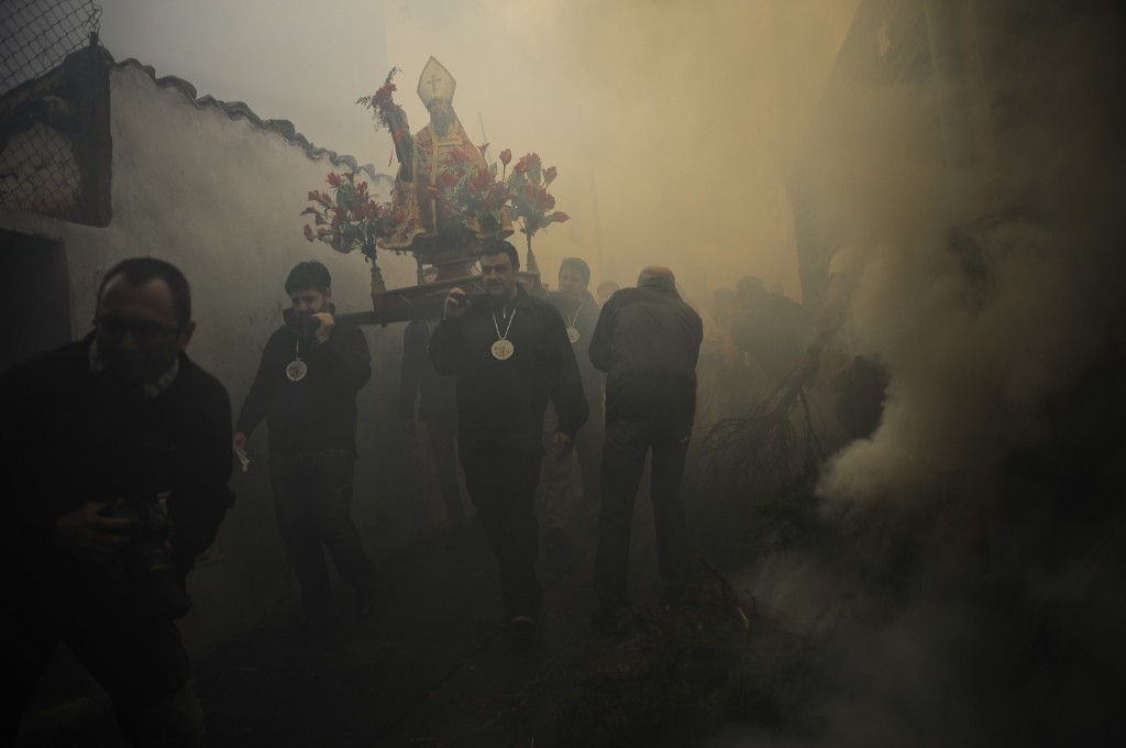 Devotees carrying the relic of Saint Andrews in Arnedillo, northern Spain. AP Photo/Alvaro Barrientos