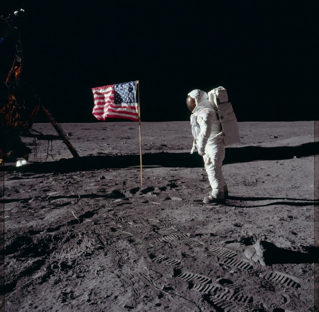 Buzz Aldrin salutes the U.S. flag on the surface of the moon. NASA Photo