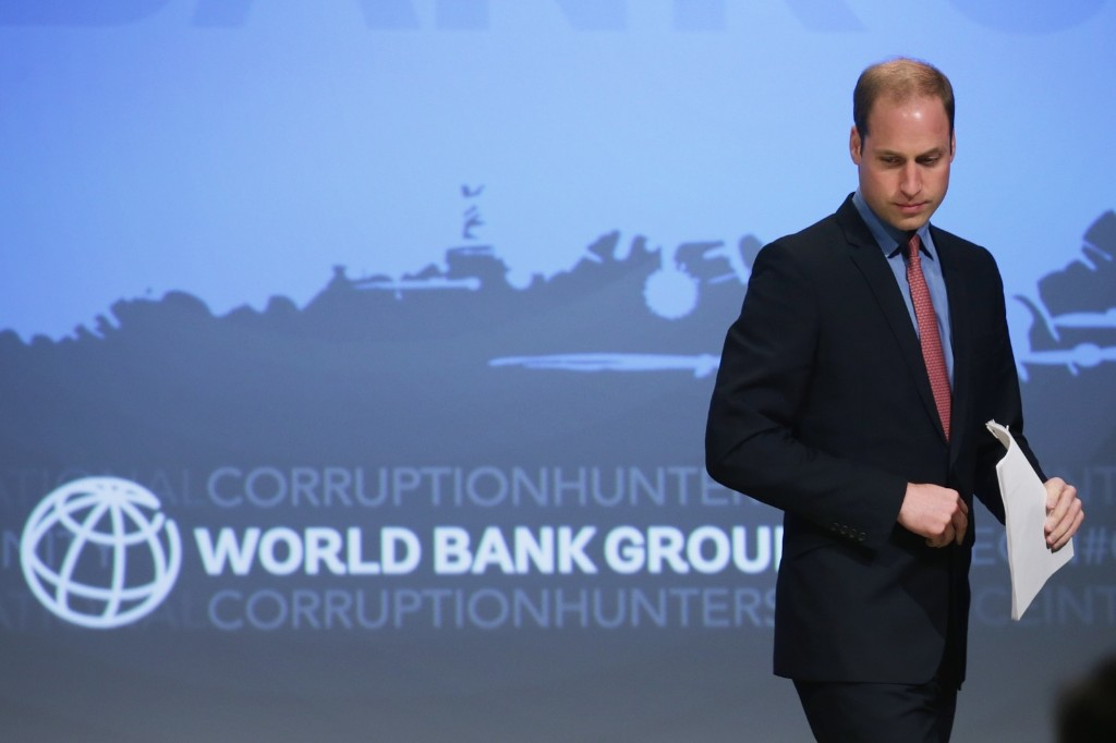 Prince William, Duke of Cambridge arrives at the International Corruption Hunters Alliance Conference at the World Bankcin Washington, Monday. Chip Somodevilla/Getty Images