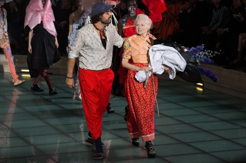 Fashion designer Vivienne Westwood and Andreas Kronthaler walk the runway during her show. Francois G. Durand/WireImage