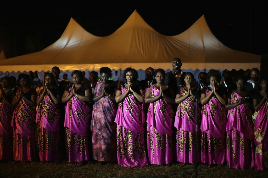 Chorale Abagenzi singers perform during a genocide commemoration ceremony in Kigali, Rwanda. Chip Somodevilla/Getty Images