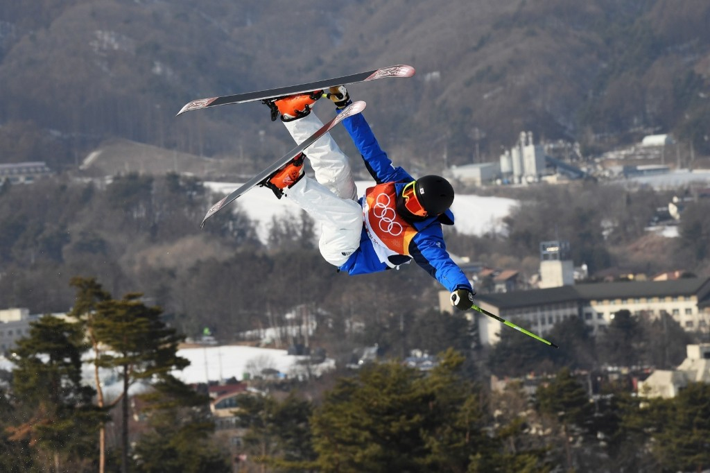 Kangbok Lee of Korea during men's ski halfpipe qualifications. David Ramos/Getty Images