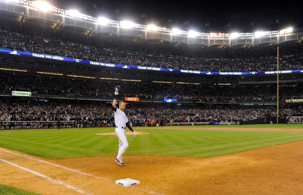 Derek Jeter after a walk-off single in the ninth inning. Robert Deutsch-USA TODAY Sports