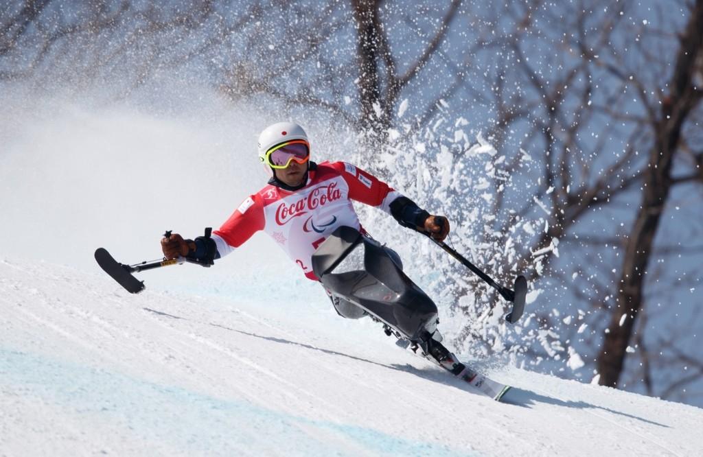 Akira Kano of Japan races in the Alpine Skiing Sitting Men's Downhill. Simon Bruty for OIS/IOC