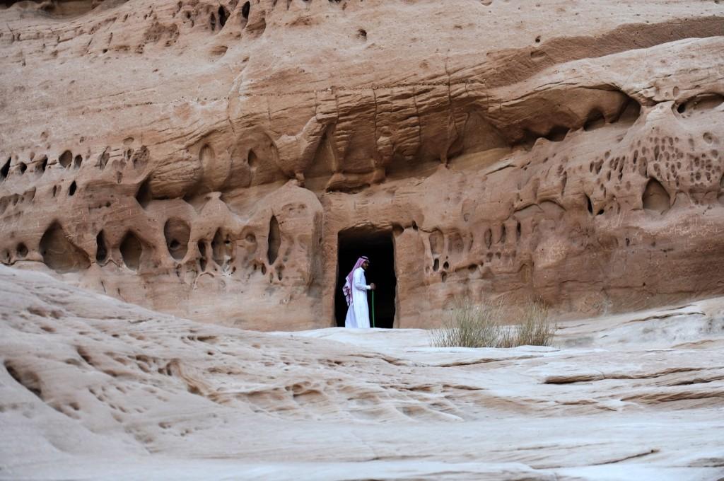 The entrance of a tomb at Madain Saleh, a UNESCO World Heritage site, near Saudi Arabia's northwestern town of al-Ula. FAYEZ NURELDINE/AFP/Getty Images